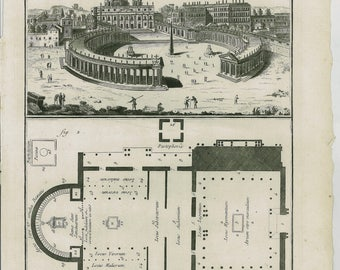 1756 Large Antique ARCHITECTURE of the St. Peter Basilica, Chapel, Vatican, Roma. Plan of the Church,  Papal Basilica  + 250 Years Old Print