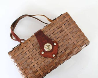 vintage basket purse - SPADE wicker & leather woven bag