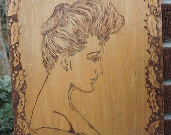 Antique VICTORIAN Edwardian Pyrography FLEMISH Art Chandler Christy WOMAN Plaque c1903