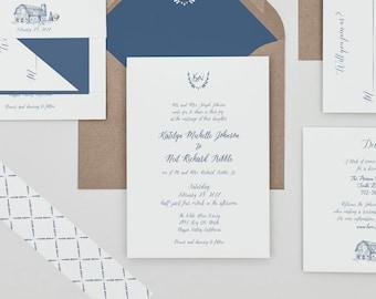 Slate Blue Calligraphy Wedding Invitations,Rustic Barn Wedding,Country Wedding invites,Blue Calligraphy Monogram,Hand drawn Monogram Invite