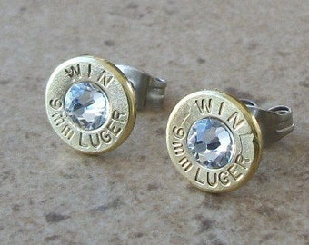 Winchester 9mm Lugger Brass Bullet Earring, Lightweight Thin Cut, Clear Swarovski Crystal, Surgical Steel Post - 422