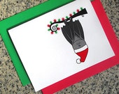 hanging bat in santa hat christmas holiday cards / notecards / thank you notes (blank or custom text inside) with envelopes - set of 10