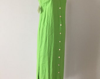 chartreuse green linen dress | button down maxi side slit dress | artist dress