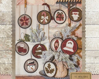 Primitive Folk Art Wool Applique Pattern:  10 HOLIDAY PENNY ORNAMENTS - Designed by Stacy West/Buttermilk Basin
