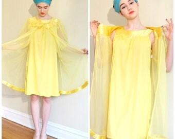 Vintage 1960s Babydoll Peignoir Set In Sheer Yellow Nylon/ 60s Nightgown and Matching Robe Set Berkliff /  Small