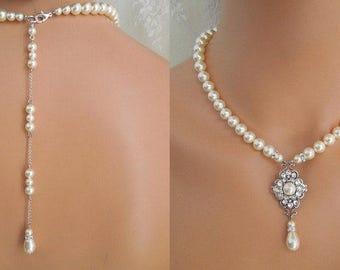 ivory swarovski pearl and crystal backdrop necklace Statement Bridal necklace Wedding Rhinestone necklace swarovski crystal and pearl CLAUDE
