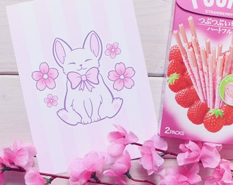Sakura Neko Art Print - S or L (5x7in or 8.5x11in) - Signed - Cherry Blossom, Pastel, Pink, Cute, Kawaii, Cat, Kitten, Flower, Candy Stripes