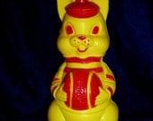 Retro 60s Plastic Bunny Bank Rabbit With Basketball Figure