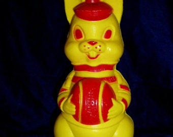 Retro 60s Plastic Bunny Bank Rabbit With Basketball Figure