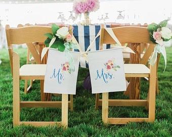 Floral Mason Jar Mr. & Mrs. Wedding Banners Set , Engagement Photo Shoot Prop, Southern Wedding Sign