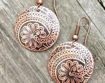 Copper earrings, etched jewelry, dangle earrings, drop earrings, nature jewelry, gift for her, light weight earrings