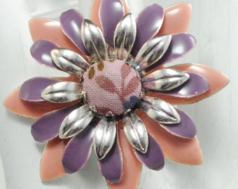 Floral Statement Ring/Purple/Peach/Silver/Spring/Summer Jewelry/Gift For Her/Adjustable/Under 20 USD