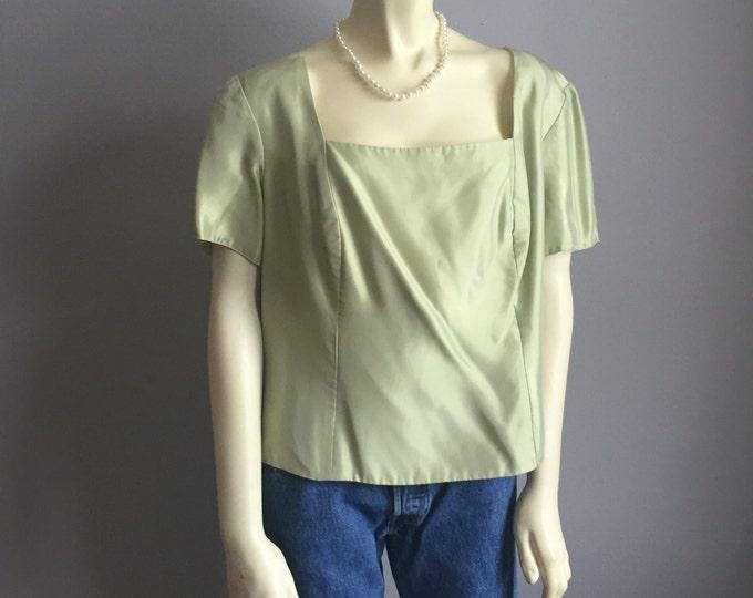 plus size square neckline 90s vintage XL XXL cropped short sleeve cocktail romantic cottage chic womens sage mint seafoam green blouse top