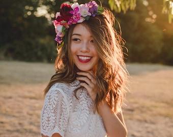 red rose pink flower crown // wedding flower crown / spring floral headpiece / bougainvillea spring flower crown / bridal flower crown /