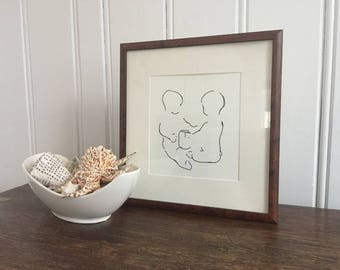 Art Prints, Line Drawing, Twins gift, Wall Art, Shower Gift, Nursery Decor, Baby gift, Modern Art, Minimalist Art