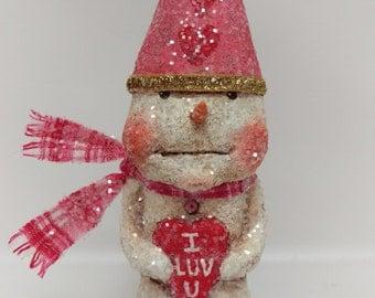 Valentine Snowman - Snowman Folk Art - Whimsical Snowman - Valentine's Day Gift