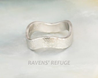 wavy platinum wedding ring / hammered wedding band, entirely hand forged