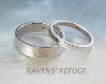 palladium wedding band set -- his and hers simple flat wedding rings