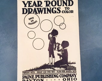 Vintage Line Drawings Days We Celebrate Year 'Round Drawings to Color Etta Corbett Garson