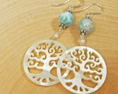 Larimar and Mother of Pearl Tree of Life Sterling Silver Earrings on Sterling Ear Wires