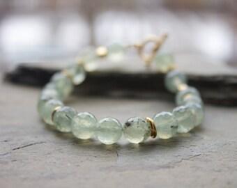 Gold Prehnite bracelet, prehnite gemstone bracelet, healing stone bracelet, sea green stone bracelet, stacking gemstone bracelet