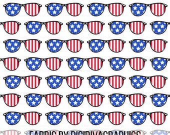 Freedom Sunglasses Fabric By The Yard - 4th of July American Flag Independence Day Glasses Print in Yards & Fat Quarter