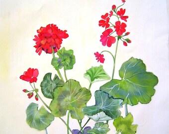 Summer Geraniums II Pillow 16x16 Hand Painted Original Art Elegant Red Flowers on Creamy Background Summer Home Decor Garden Delight