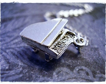 Silver Piano Necklace - Silver Pewter Piano Charm on a Delicate Silver Plated Cable Chain or Charm Only