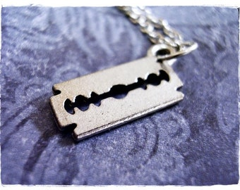 Silver Razor Blade Necklace - Antique Pewter Razor Blade Charm on a Delicate Silver Plated Cable Chain or Charm Only