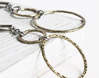 Antiqued Gold Plated Circle Loop Earrings with Gunmetal Black Hooks
