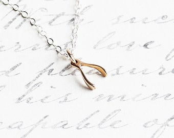 Tiny Bronze Wishbone Pendant Necklace on Sterling Silver Chain, Dainty Jewelry