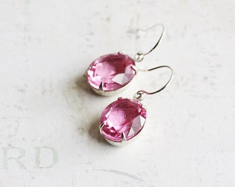 Light Pink Earrings, Small Pink Dangles, Pink Rhinestone Earrings on Silver Plated Hooks, Pink Oval Earrings, Vintage Style Jewelry