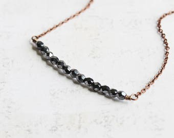 Black Necklace, Thin Bar Necklace on Antiqued Copper Plated Chain, Small Bead Necklace, Hematite Black Faceted Glass, Minimalist Jewelry
