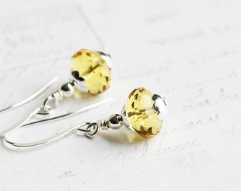 Yellow Bead Earrings, Small Dangle Earrings on Silver Plated Hooks, Light Topaz Yellow Earrings, Czech Glass, Dainty Jewelry