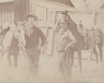 Real WORKING COWBOYS and Their HORSES Cabinet Card Photo Circa 1890s