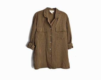 Vintage 90s Striped Boy Shirt in Black & Gold / Long Sleeve Blouse - women's large