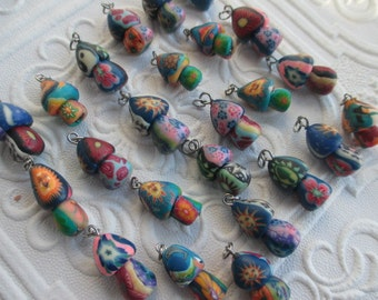 lot of 25 FIMO MUSHROOM PENDANTS Shroom Clay Charms Hippie Wholesale