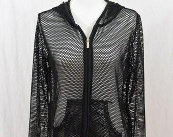 Vintage Open Knit Hoodie, Size Medium-Large, 90's Clothing, Punk, Goth, Grunge, Tumblr Clothing, Cyber Punk