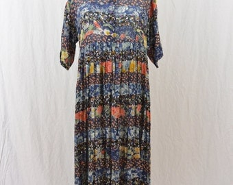 Vintage Floral Maxi Dress, Size Medium, 90's Clothing, Grunge, Boho, hippie, Mixed Print, Fairy Clothing