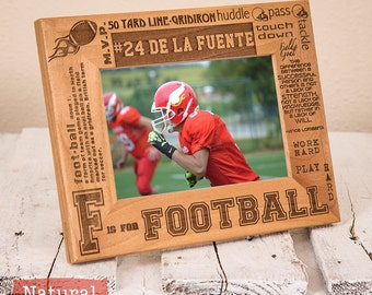 Personalized Football Frame Engraved on Wood-Engrave your name/number-Football Player gift-Football Team