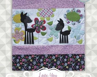 Instant Download- Love You Deerly Quilt Pattern.  Panel quilt. Deer Quilt. Nursery Quilt Pattern. DIY appliqué