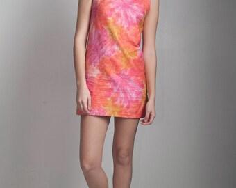micro mini shift dress vintage 60s mod cotton pink yellow foliage print sleeveless SMALL S