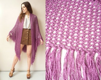 1970's Vintage Purple Hand Knitted Crochet Tassel Scarf Shawl Cape