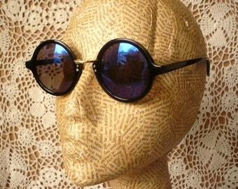 90's Vintage Lennon Round Circle Sunglasses With Electric Blue Mirrored Lenses Grunge Style