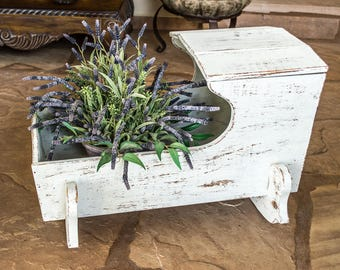 Rocking Baby Cradle Shabby Cottage Hand Painted White and Distressed Planter or Nursery Decor