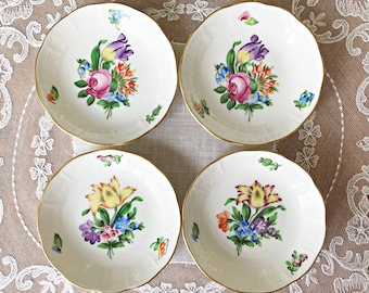 4 Ceramic Coasters Herend Porcelain Coasters Floral China Butter Pats