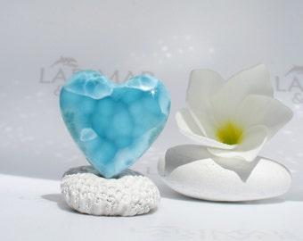 AAA Larimar cabochon from Larimarandsilver, Ocean Heart - denim blue Larimar heart, aquamarine heart, turtleback, handmade Larimar supply