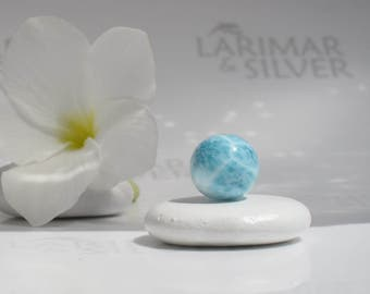 Larimar bead from Larimarandsilver, Atlantis Pearl 8 - turquoise blue Larimar bead, turtleback, topaz blue, blue pearl handmade Larimar bead