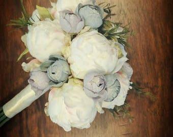 Wedding Bouquet - Peony Bud - Ranunculus Bouquet - Vintage Inspired - Antique Blue - Lavender Purple - Cream - Greenery