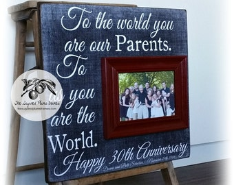 Parents Anniversary Gift, 30th Anniversary Gifts, 50th Anniversary Gifts, To the World, Anniversary Frame, 16x16 THE SUGARED PLUMS